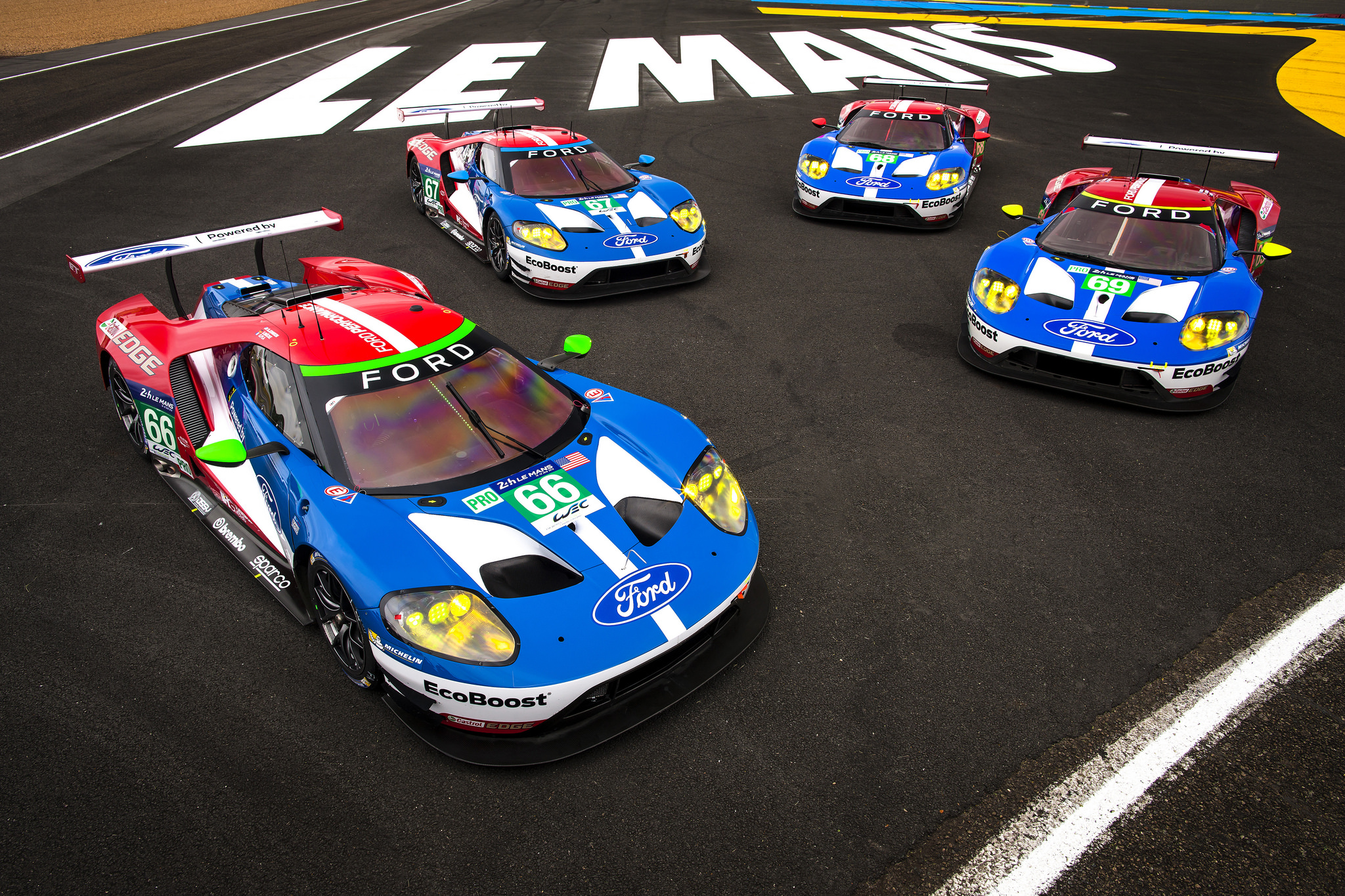 Four Ford Gt S Prepare For 24 Hours Of Le Mans On 50th